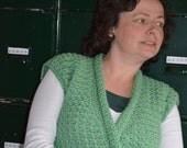 Crochet pattern : Vest, soft and sage