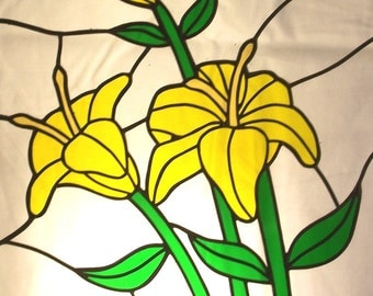 Stained Glass Yellow Lilies