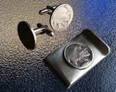 Indian Head Nickel Money clip and Cufflink Set Jewelry by Custom Coin Rings Free Shipping