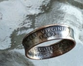 West Virginia State Quarter coin ring Made to order sizes 5 to 12  by Custom coin rings