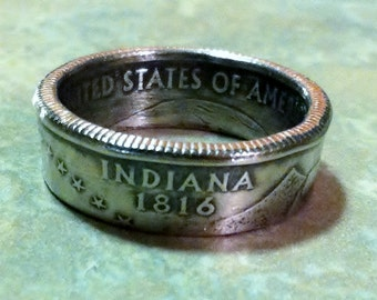 2002 Indiana State Quarter Coin Ring  Size 5 to 12