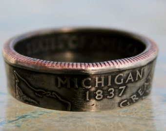 2004 Michigan State Quarter Coin Ring  Size 5 to 12 jewelry by Custom Coin Rings