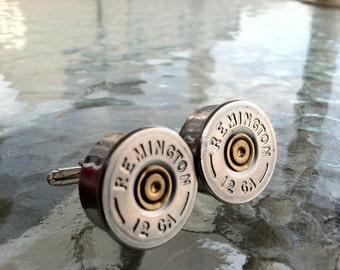 Remington 12 GA Bullet Shotgun Shell Cufflinks  cuff links By Custom Coin Rings