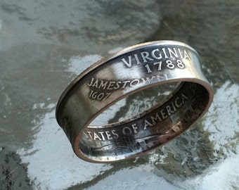 2000 Virginia State Quarter Ring Jewelry Handmade size 5 to 12
