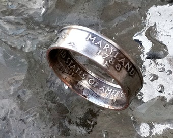 2000 Maryland State Quarter Coin Ring Size 5 to 12