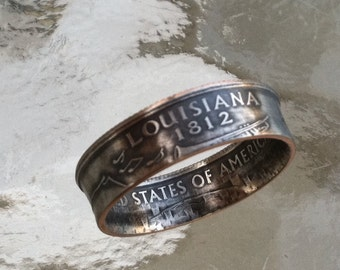 2002 Louisiana State Quarter Ring You pick size Jewelry by Custom Coin Rings