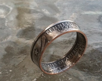 Tennessee State Quarter Ring You pick size 5 to 12 Jewelry--By Custom Coin Rings