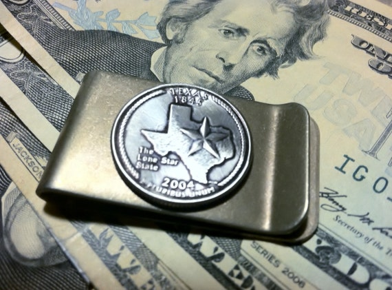 Money Clip with TEXAS State Quarter By Custom Coin Rings Jewelry
