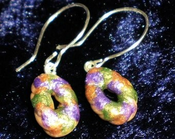 King cake mardi gras wire wrapped dangle earrings