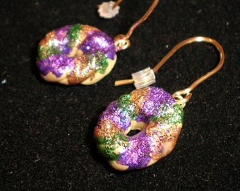 earrings polymer clay Medium size Super Sparkle King cake mardi gras wire wrapped dangle