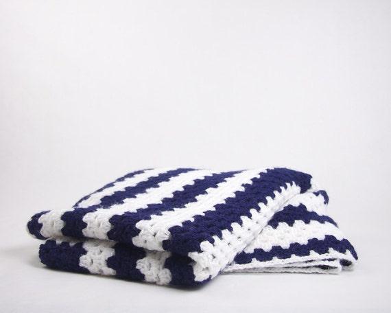 Vintage Crochet Afghan Blanket / Rug Navy and White