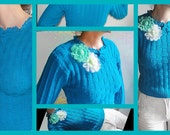 Summer  SWEATER long-sleeves turquoise-kniting, crochet. 2 broche