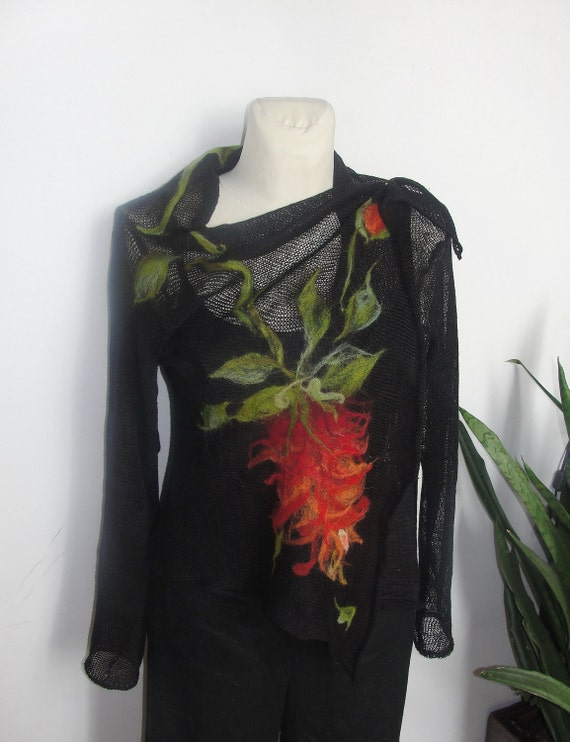 black tunic KNITTED SWEATER , LINEN, felted, scarf felted linen,  tunic , cardigan , long sleeves,multicolor floral applications.