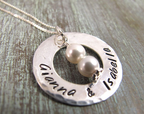 Personalized Mother's Necklace, Twins or Triplets, 2 or 3 children, Hand Stamped, Christmas Gift