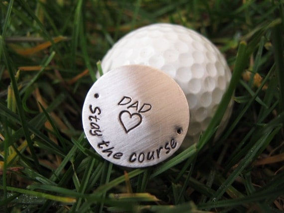 Personalized Golf Ball Marker, Father's Day Gift, with Leather Key Ring Case, Sterling Silver, Hand Stamped