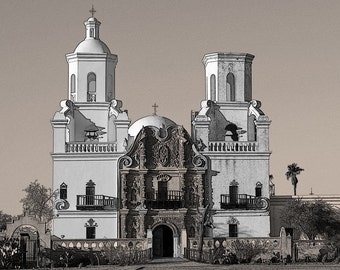 San Xavier, Mission Church, black and white, sepia tone, photograph, Spainsh style, Tucson Arizona, Native American, Father Kino, Mexican