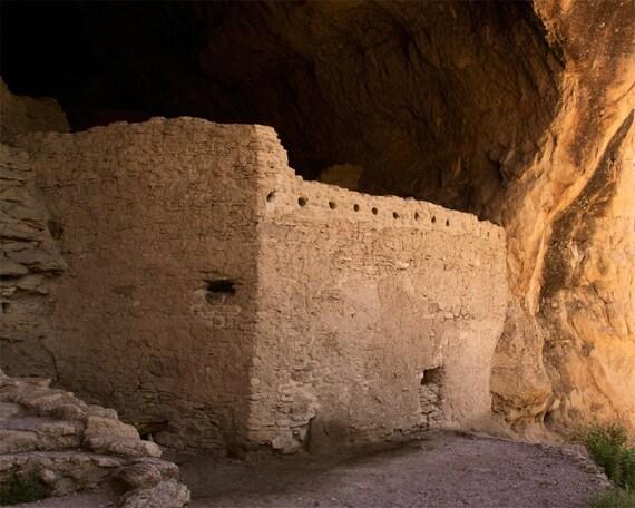 Southwestern art, southwestern decor, photograph, Gila wilderness, ancient, cliff dwellings, New Mexico, Native American, wall art, earth