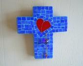 Mosaic Cross  Red Heart Blue Heart