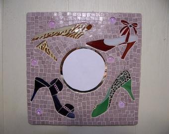 Mosaic Mirror Wall Art ,Lady Home Decor Powder Room Decor High Heels