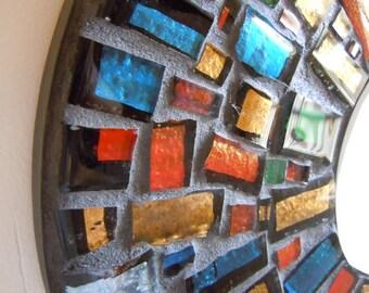 Wall Mirror Mosaic, Deep Rich Colors Sunburst design Home Decor