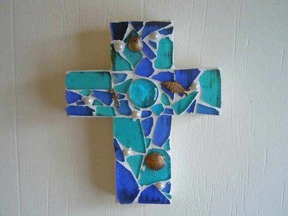 Mosaic Cross Beach Glass and metal charms
