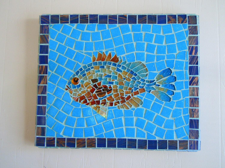 mosaic fish home decor beach cottage decor wall art. Black Bedroom Furniture Sets. Home Design Ideas