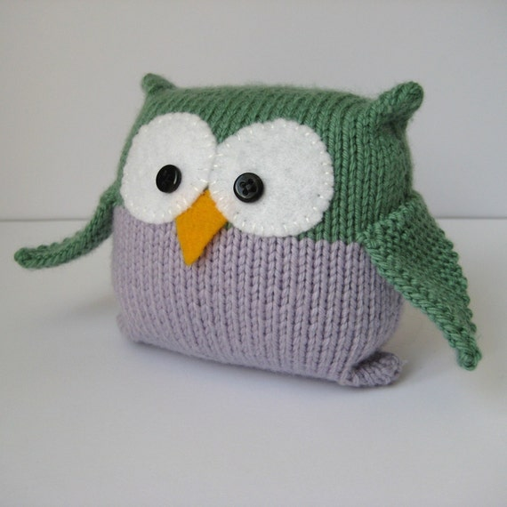 Knitting Patterns Easy Toys : Tooley Owl toy knitting pattern easy knit instant by fluffandfuzz