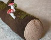 Large Stuffed Mossy Log Soft Sculpture