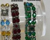 Multi Strand Faceted Gems Bracelet .... Emerald or Garnet or Turquoise-Amber Topaz