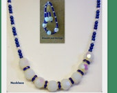 Special coupon enclosed .. Blue and White Necklace, Bracelet and Earrings ... Pearls and White Opalescent AB Faceted Beads