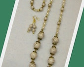 CLEARANCE ITEM ... Jewelry Set - White and Gold ... Necklace, Bracelet and Earrings