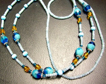 Turquoise and Topaz Lanyard with Name Card Holder attached ... faceted beads .. about 23 inches long total