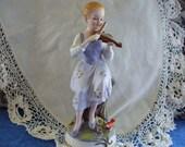 Vintage, ARDALT, LINWILE, Girl Playing Violin  FIGUERINE, Handpainted