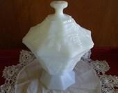 Vintage MILKGLASS White Octagonal Shaped Dish with LID, Grapevine Patterns, Bowl, Flowers, Vase