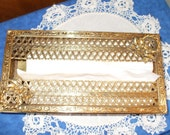Vintage TISSUE  HOLDER,  Metal Box of Gold Filigree with wreaths/flowers  at corners