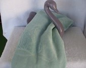 Ceramic  Swan Towel, Washcloth Holder from  50 s or 60 s , With Vintage Turquoise Swan Towel