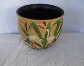 Brown Clay Flower Pot or Vase  Handpainted with Cranes and Reeds, Made in England
