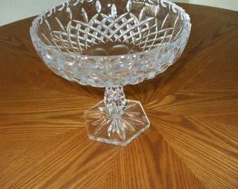 Vintage CUT CRYSTAL TALL BON BON , CANDY DISH,