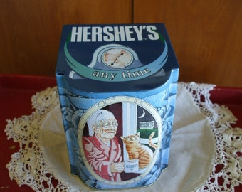 Hersey's Tin, Cocoa, Canister,  Unique Opening,  Vintage,  Great Graphics