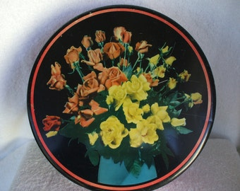 Vintage, Large  Cookie TIN, With Roses on top., Red container with Black lid,
