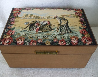 """Tapestry Music Jewelry Box, Red Lining with Mirror< Milllet's  """"les Glaneuses"""" Gifts  Wedding,"""