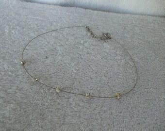 Vintage Crystal Necklace -  5 Crystal Balls on a wire ,