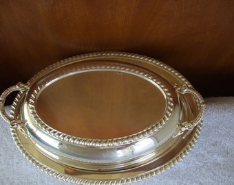 Silver Plate Covered Serving Dish by Cresent Silver Co. .  Oval,
