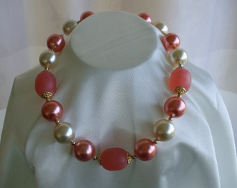 Pearls and Frosted Peach Beads Choker Necklace,