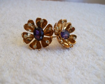 CORA   Amethyst - Rhinestones Earrings - Gold Tone -  Screw Backs - 50's - Signed - Vintage - Gifts