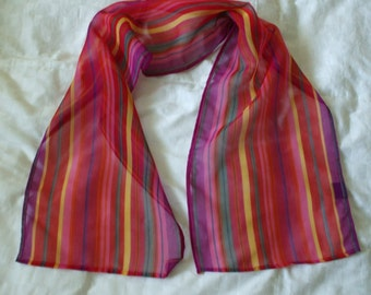 Bright Colorful Long Scarf from India,  100% Polyester ,