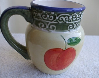 CIC Creamer, Pitcher, Yellow , Green and Blue with Apple Graphic,