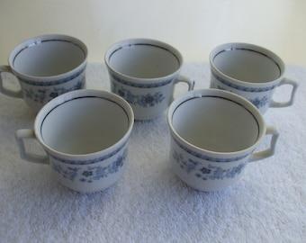 JL Menau German Porcelain Demitasse Cups,  (5) White with Blue Flowers Silver Rim