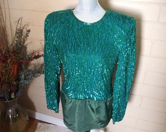 Laurence Kazar, Bright Turquoise , Sequined Blouse,  with added satin hem. , Prom,  Cruise, Party, Glam.