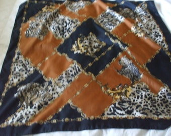 """Tigers, Jungle Print Scarf, Very Large 34"""" X 34"""" Golds, Black and Rust colors"""